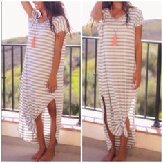 Striped side slit maxi dress Best selling style nwot grey striped maxi . Oversized style and meant to be . Side slits . Back stitch details . Nwot . Large will fit XL - 16 as its running big . Striped Pastel Vivacouture Dresses Maxi
