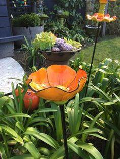 Orange Flower Birdbath