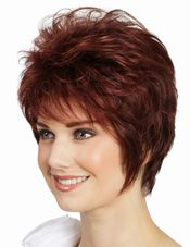 Portia Wig by Tony of Beverly. Tamed or tousled, this sassy cut has a winning personality with elongated sides and wispy ends.  Featuring a Lace front and Monofilament Top for a more natural appearance, greater comfort, and enhanced styling versatility.