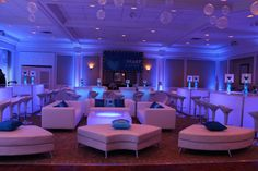 Our Bat Mitzvahs are custom designed to make the Bat Mitzvah girl's special day unique and exciting. Themes include: New York City, Broadway, candy, Hollywood and tropical themes. Led Room Lighting, Lounge Lighting, Room Lights, Bat Mitzvah Themes, Bat Mitzvah Party, White Leather Furniture, Bat Mitsvah, White Lounge, Lounge Party