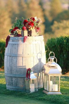 Wine Barrel  + Lanterns  || Wedding Decor || See the wedding on Style Me Pretty:  http://www.StyleMePretty.com/2014/02/11/winchester-country-club-wedding/  Kori & Jared Photography