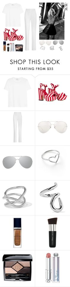 """""""joue"""" by wednesday-williams ❤ liked on Polyvore featuring Yves Saint Laurent, Le Silla, Givenchy, Linda Farrow, Jordan Askill, Jennifer Fisher, Christian Dior, StreetStyle, Summer and stripes"""