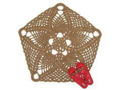 Pentagon or Pentagram Jute Rug - Natural Fiber Rug - Lacy Doily Rug - Pineapple Pattern Carpet - Flower Shaped Rug - Boho Decor - Hippie Rug