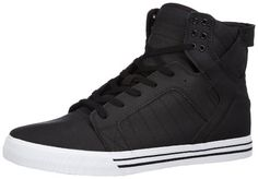 This shoe look s great with skinny jeans. Simple colors and textures juxtaposed with the sky high high top.     SUPRA Men's The Skytop Sneaker 11.5M / 13.5W Black Supra http://www.amazon.com/dp/B0050NF8J0/ref=cm_sw_r_pi_dp_UG2Utb0BFWVD7VHR