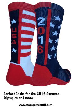 MadSportsStuff 2016 USA Pride Athletic Crew Socks - mismatched, fun, and patriotic with stars and stripes galore! Go Team USA - Summer Olympics 2016! #MadSportsStuff
