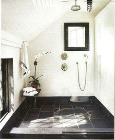 classic modern bathroom--white walls, slate floor, shower nook, use of home design room design design interior design 2012 room design Bad Inspiration, Bathroom Inspiration, Bathroom Ideas, Design Bathroom, Shower Ideas, Bathroom Organization, Bathroom Storage, Budget Bathroom, Bath Design
