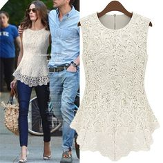 [ $29.00 ] Fashion Sleeveless Lace Shirt Top Tee