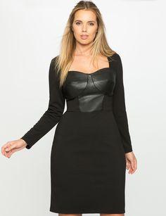 ELOQUII Petite Plus Size faux leather empire dress