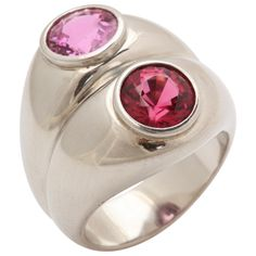 1937 Madame Belperron Pink Spinel Strawberry Tourmaline Platinum Ring | From a unique collection of vintage cocktail rings at http://www.1stdibs.com/jewelry/rings/cocktail-rings/