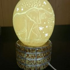 Bedside lamp (Carved Ostrich egg/ Scrimshaw) with bead and wire stand, Original handmade African lampshade. Unique Wedding Gifts, Unique Weddings, Carved Eggs, Family Gifts, Friends Family, Egg Art, Bedside Lamp, Beads And Wire, African Art