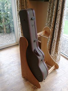 Light Oak wood Guitar Case Rack Stand WITH 3 cases left view