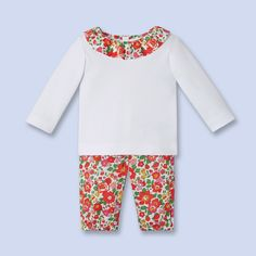 887722f4b7dd Tenue coton petite fille Jacadi   tee-shirt manches longues, collerette  tissu Liberty assortie