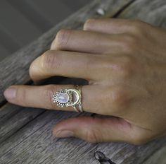 half moon moonstone sterling silver ring bohemian jewellery festival indie and harper