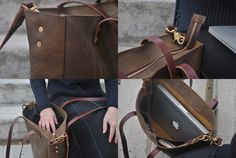 Distressed Leather Laptop Bag Tote with by NellHarperLeather