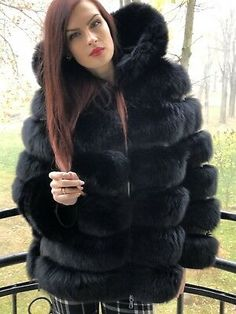 Black fox fur coat with hood. Zippers on the sides. Coat's lenght around bust: Black lining. Black Fur Jacket, Pink Fur Coat, Fur Trim Coat, Fox Fur Jacket, Fox Fur Coat, Black Winter Coat, Black Wool Coat, Bergdorf Goodman, Australia Luxe