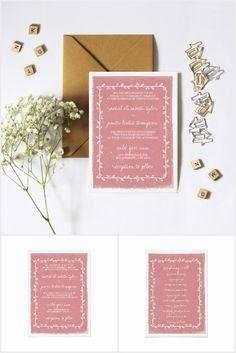 Romantic Watercolor Border Wedding Invitation Suit