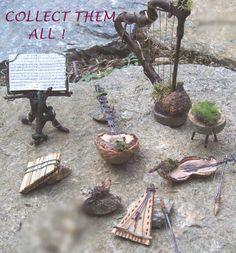 Items similar to Fairy Garden Kit HARP with Bench STOOL Dollhouse Miniature Furniture Terrarium House Decor on Etsy Fairy Crafts, Garden Crafts, Fairy Music, Fairy Village, Fairy Garden Furniture, Fairy Garden Accessories, Miniature Fairy Gardens, Fairy Houses, Gardening