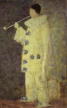 Georges Seurat, Pierrot with a White Pipe (Aman-Jean), 1883, Oil on canvas, (Private collection)