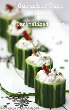 The Red Apron: Cucumber Cups with Bacon & Caramelized Onion