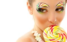 Photo about Woman licks candy with beautiful make-up isolated on white background. Image of lollipop, happy, lady - 24750373 Candy Girls, Candy Theme, Candy Art, Rock Candy, Candy Costumes, Candy Makeup, Photoshoot Themes, Makeup Photoshoot, Make Up Art