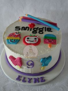 """Smiggle"" themed cake with edible pencils, erasers for a huge fan of stationery"