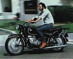 "Steve Jobs riding his 1966 BMW motorcycle. Via National Geographic article titled ""High Tech, High Risk, and High Life in Silicon Valley,"" (Oct. written by Moira Johnston; photos by Charles O'Rear. Harley Davidson Chopper, Harley Davidson Sportster, Steve Jobs, Bmw Classic, Classic Bikes, Bmw Motorcycles, Vintage Motorcycles, Bike Bmw, National Geographic"