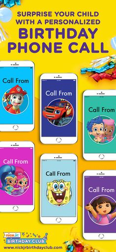 Join the Nick Jr. Birthday Club and schedule a personalized phone call from your child's favorite character (like Blaze, PAW Patrol, Bubble Guppies, Shimmer and Shine, Dora the Explorer, and SPONGEBOB SQUAREPANTS!), free printable party supplies, party planning ideas and hacks, and so much more! Your child won't believe their luck on their BIG day! You'll never run out of kids birthday party ideas again.