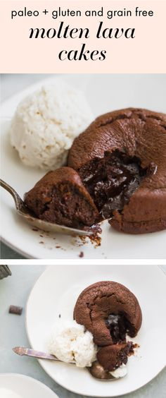 This paleo molten lava cake is the perfect for a paleo Valentine's Day recipe. Gooey, rich centers surrounded by perfect chocolate cake, this paleo molten lava cake recipe is super easy and quick. Gluten-, grain-, refined-sugar-, and dairy-free, this paleo molten lava cake is actually healthy and will leave you feeling fab after your date night dinner! #paleo #paleorecipes #valentinesday #chocolate #cake #dessert #paleodessert