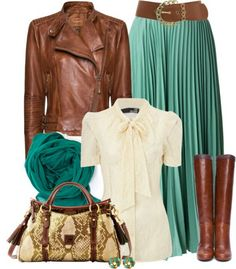 Green maxi skirt, white shirt, brown leather jacket, scarf, brown shoes, handbag