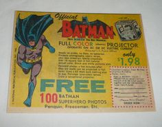 Cool vintage Batman comic book ad!