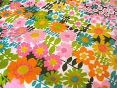 "1960's Vintage Groovy Flower Power Fabric One Yard 36""L x 44""W - Vintage Fabric Destash | Flower Power, Fabrics and Vintage Fabrics 16"