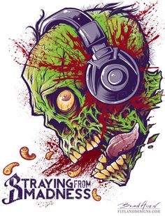 Zombie with headphones T-Shirt Illustration