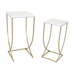 Gold Metal Tall Nesting Side Table Set With White Top