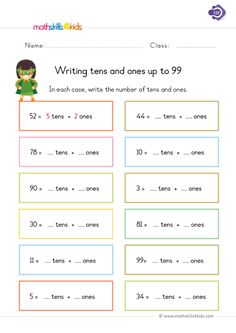 Do you know numbers have their place value? So we'll help you practice putting numbers in their place by diligently writing tens and ones up to Our focus here is only with 2 digit numbers, simple enough to ease kids understanding. Tens And Ones Worksheets, Worksheets For Class 1, Place Value Worksheets, First Grade Math Worksheets, Writing Practice Worksheets, Math Place Value, Free Math Worksheets, 1st Grade Math, Place Values