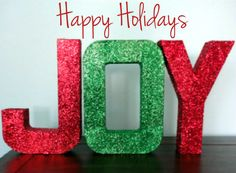 Red and Green Glitter Joy Letters, Christmas Decor, Holiday Decor, 12 inch letters, Freestanding letters, Paper Mache Letters by RomanticSouthern on Etsy https://www.etsy.com/listing/200689190/red-and-green-glitter-joy-letters