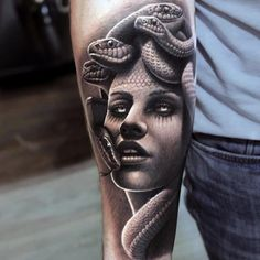 Realistic Medusa Tattoo for Him. This tattoo is looking so realistic that you can now understand what I meant to say above. Artist did an amazing job and offers incredible details on each ad every feature of the girl.