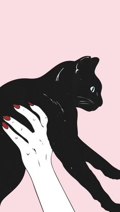 Little black cat Art And Illustration, Arte Pop, Cat Wallpaper, Wallpaper Backgrounds, Seagrass Wallpaper, Paintable Wallpaper, Colorful Wallpaper, Fabric Wallpaper, Live Wallpapers