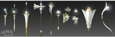 """[Po polsku] In update new items were added called """"Pure Lilies"""" series. Goal of these items is strictly remodelling. Anime Weapons, Fantasy Weapons, Weapon Concept Art, Game Concept Art, Mmorpg Games, Character Costumes, Mythical Creatures, Dungeons And Dragons, Game Design"""