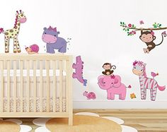 Girly jungle animals wall decal baby girls room wall art sticker pink safari friend nursery wall decor mural removable