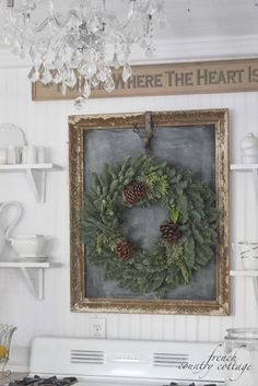 Vintage French Soul ~ Decor Inspiration - chalkboard in antique frame accented by wreath - FRENCH COUNTRY COTTAGE: Christmas in the little cottage French Country Christmas, Country Christmas Decorations, Cottage Christmas, French Country Cottage, Noel Christmas, French Country Decorating, Rustic Christmas, Winter Christmas, All Things Christmas