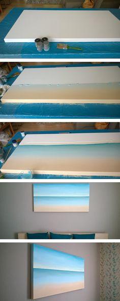 DIY-Meer auf Leinwand, DIY canvas-painting beach & sea