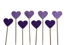 Glittery Heart Cake Toppers  PURPLE  weddings by CraftsbyVerity