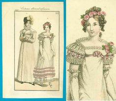 Antique 1817 Regency ball gown fashion print redingote pelisse bonnet shoes Costume Parisien