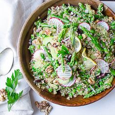 This easy, vegan, quinoa salad recipe is an ode to Springtime! With tender asparagus, fresh peas and radishes in a tangy lemon shallot vinaigrette.