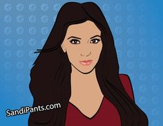 Caricature of Kim Kardashian created by Sandi Fender. go to www.SandiPants.com to order a caricature of you or someone you know today - fun to order print and frame, gift on a mug, or as a profile picture. www.SandiPants.com