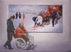 attila szucs, the pigsticking, oil on canvas, 140x190cm. 2014
