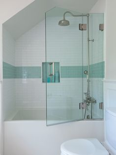 Renovating a bathroom on a small budget? Thoughtful selections and creative use of existing space will help you get the most out of your budget bathroom remodel. Get inspired with these tips for getting maximum style and function with minimum spending. Glass Shower Shelves, Glass Tile Shower, Bathtub Doors, Bathroom Shower Doors, White Bathroom Tiles, Budget Bathroom, Shower Tub, Bathroom Ideas, Bathroom Goals
