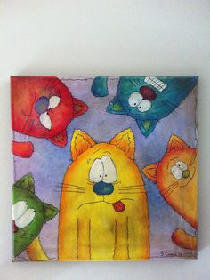 Five CatsOriginal acrylic painting on 12x12 by MakesMeLaughStudios