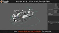 "Overview of the controls for the ""Steampunk Hover Bike"" model that's now available and rigged for use in Maya versions from 2014 to 2018.  A battered but modern bike that can adjust to cater for a wide range of biped characters. You can obtain the model yourself from here: http://www.turbosquid.com/Search/Artists/MonkeyBum?referral=MonkeyBum"