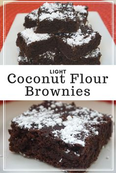 Light Coconut Flour Brownies, gluten free, filled with chocolaty goodness. Pair with a glass of milk of choice or by itself